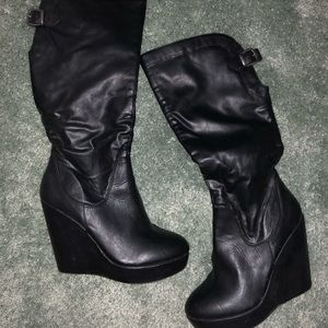 Shoes - Knee high faux leather wedge boots!
